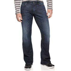 GUESS Falcon Jeans Bootcut Mens Denim Whiskered Dark Wash Button Fly 29x32 Y2K